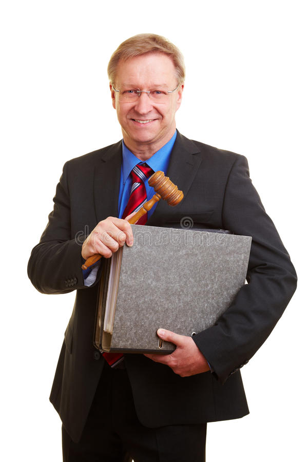 Judge with gavel and files royalty free stock photo