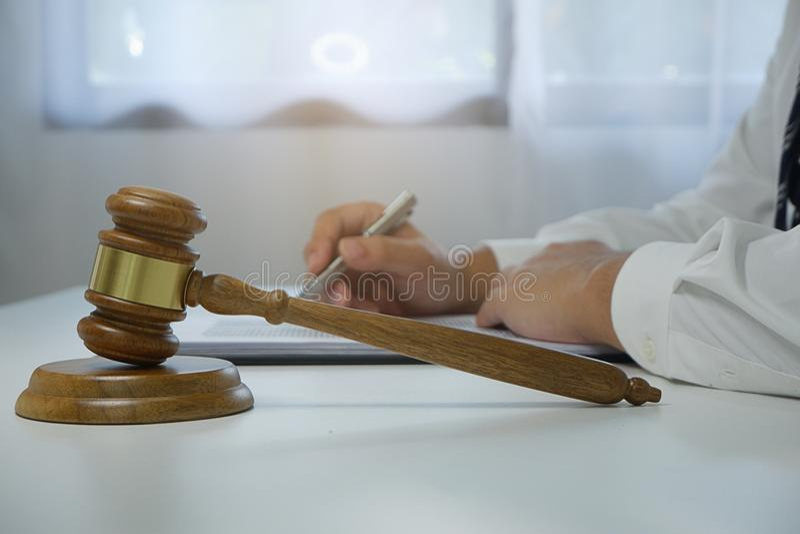Judge gavel hammer on Lawyer desk. royalty free stock photography