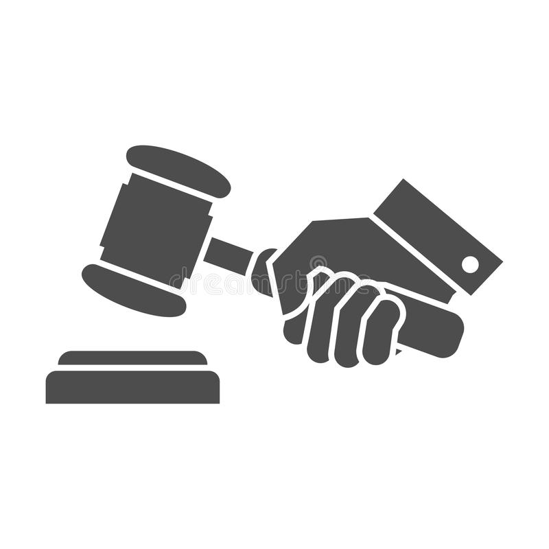 Judge gavel in hand. Black and white icon stock illustration