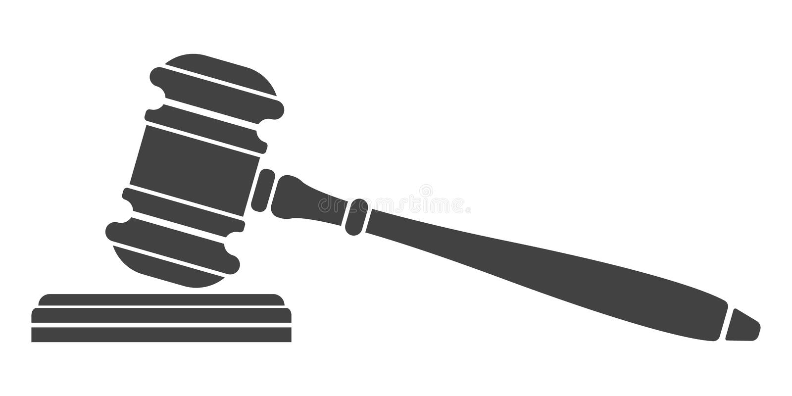 Judge gavel icon. Auction hammer. Isolated black silhouette on white background. Vector illustration of a flat design. Symbol law vector illustration