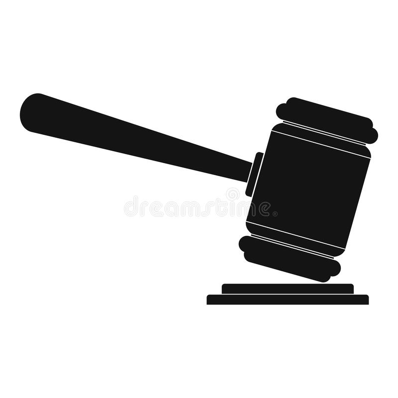 Judge gavel icon, simple style vector illustration