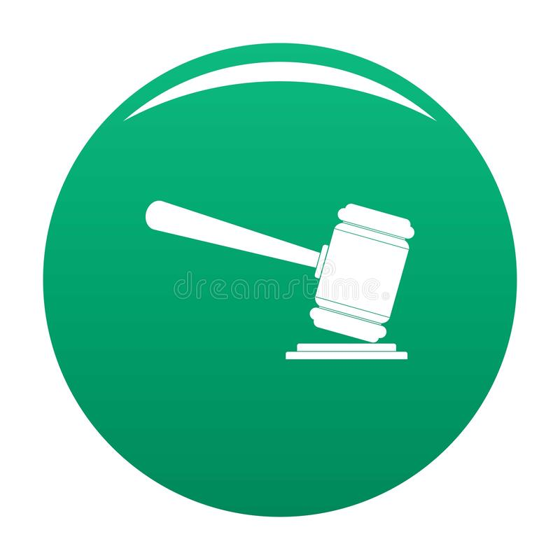 Judge gavel icon vector green vector illustration