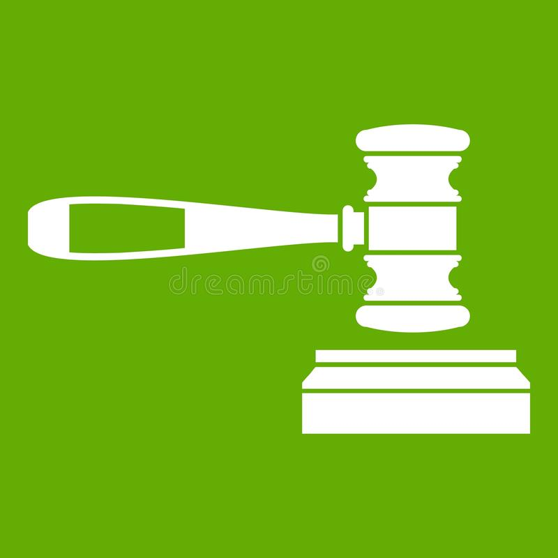Judge gavel icon green royalty free illustration