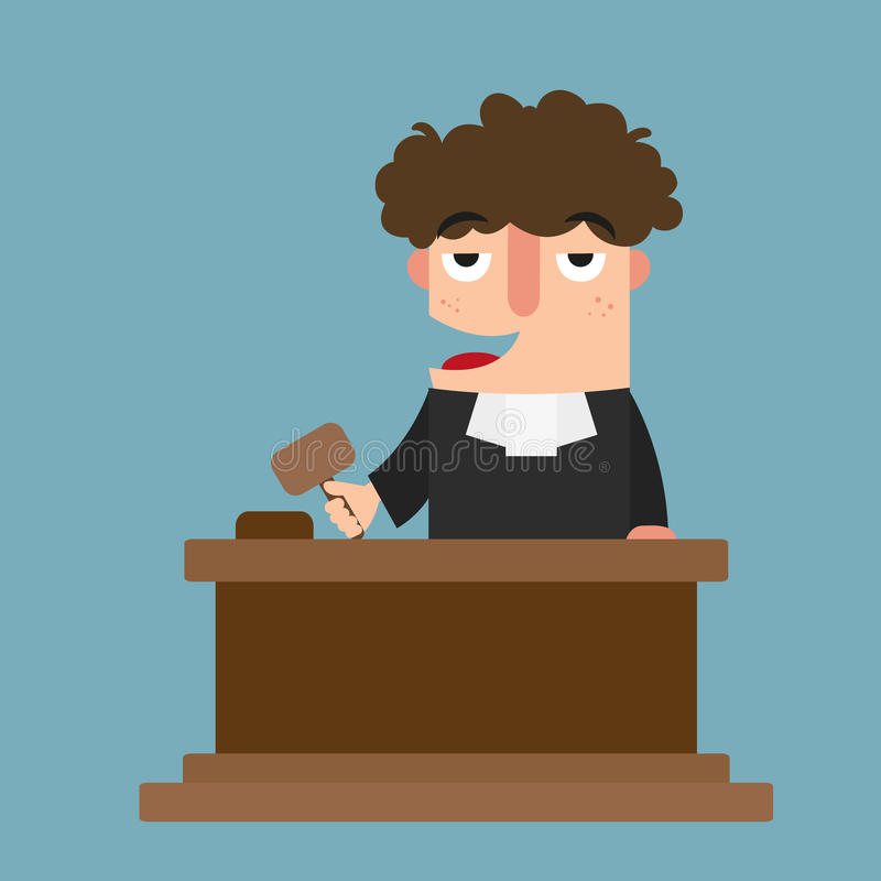 Judge with gavel. Illustration of judge with gavel royalty free illustration