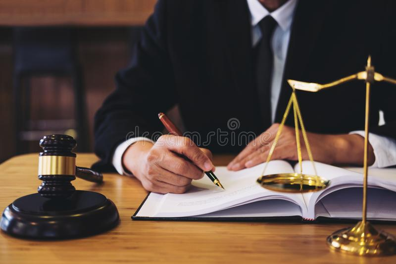 Judge gavel with Justice lawyers, Businessman in suit or lawyer royalty free stock photos