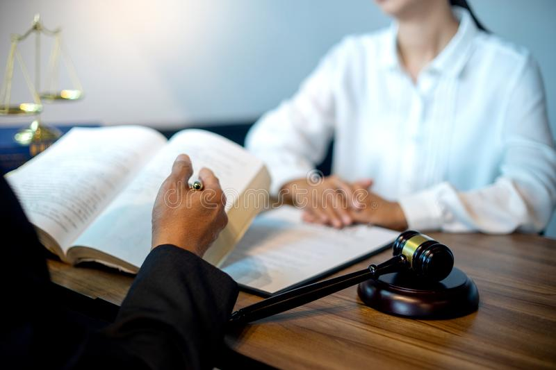 Judge gavel with Justice lawyers, Businessman. In suit or lawyer working with legal law documents. advice and justice law firm concept stock photo