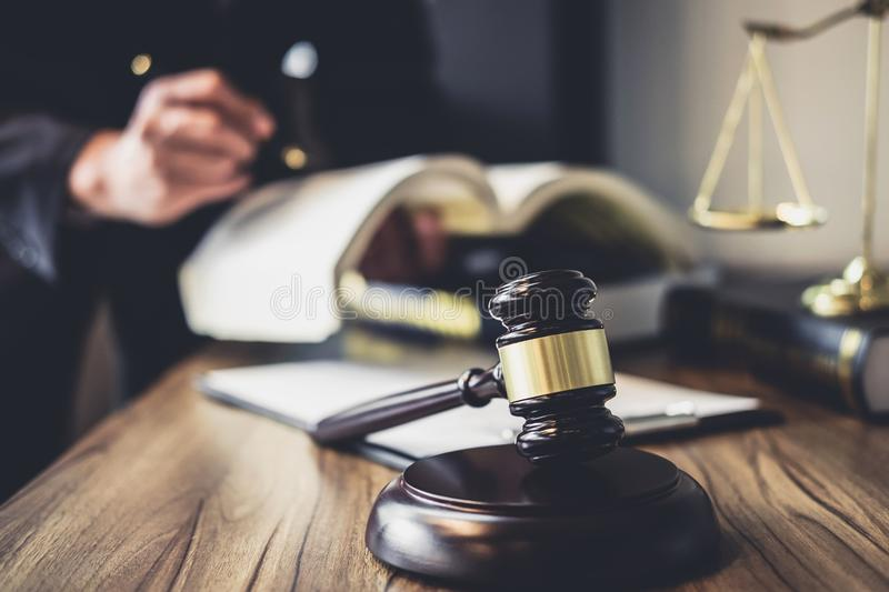 Judge gavel with Justice lawyers, Lawyer or Judge counselor work. Ing with agreement contract in Courtroom, Justice and Law concept stock image