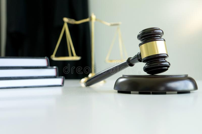 Judge gavel with Justice lawyers Plaintiff or defendant meeting stock images