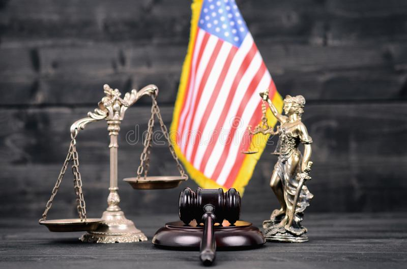 Judge Gavel, Lady Justice, Scales of Justice and USA flag . royalty free stock photo