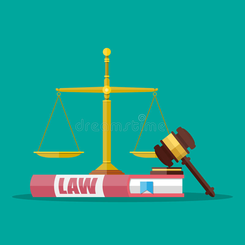 Judge gavel with law books and scales stock illustration