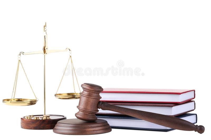 Judge gavel with scales and books stock images