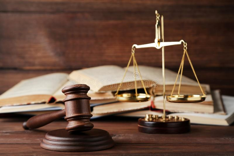 Judge gavel with scales royalty free stock image