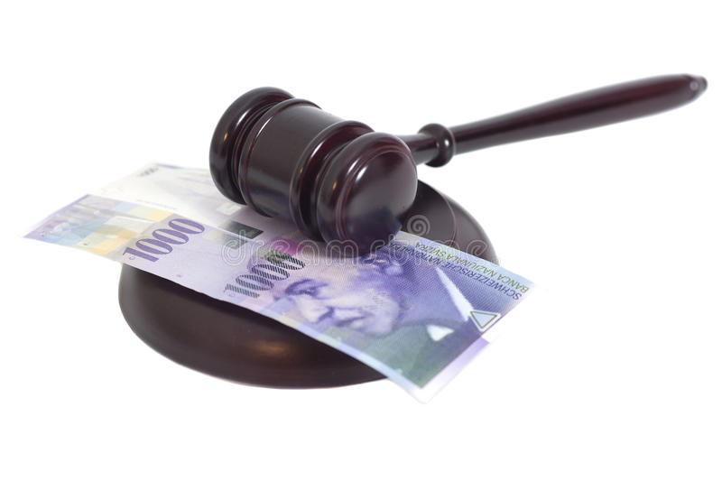 Judge Gavel and Swiss Thousand Franc Currency royalty free stock photography