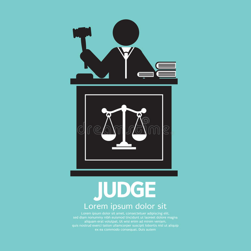 Judge With Gavel. Symbol Graphic Vector Illustration royalty free illustration