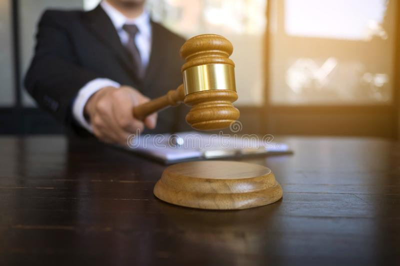 Judge with gavel on table. attorney, court judge,tribunal and justice concept.  stock photography