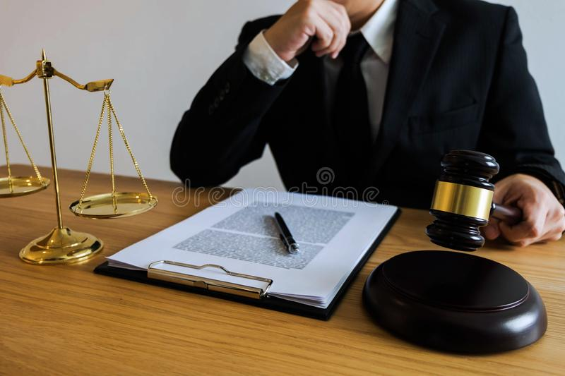 Judge with gavel on table. attorney, court judge,tribunal and justice concept. stock photos