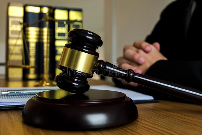 Judge with gavel on table. attorney, court judge,tribunal and justice concept. royalty free stock photography