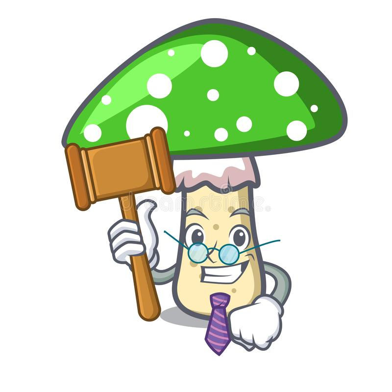 Judge green amanita mushroom mascot cartoon vector illustration