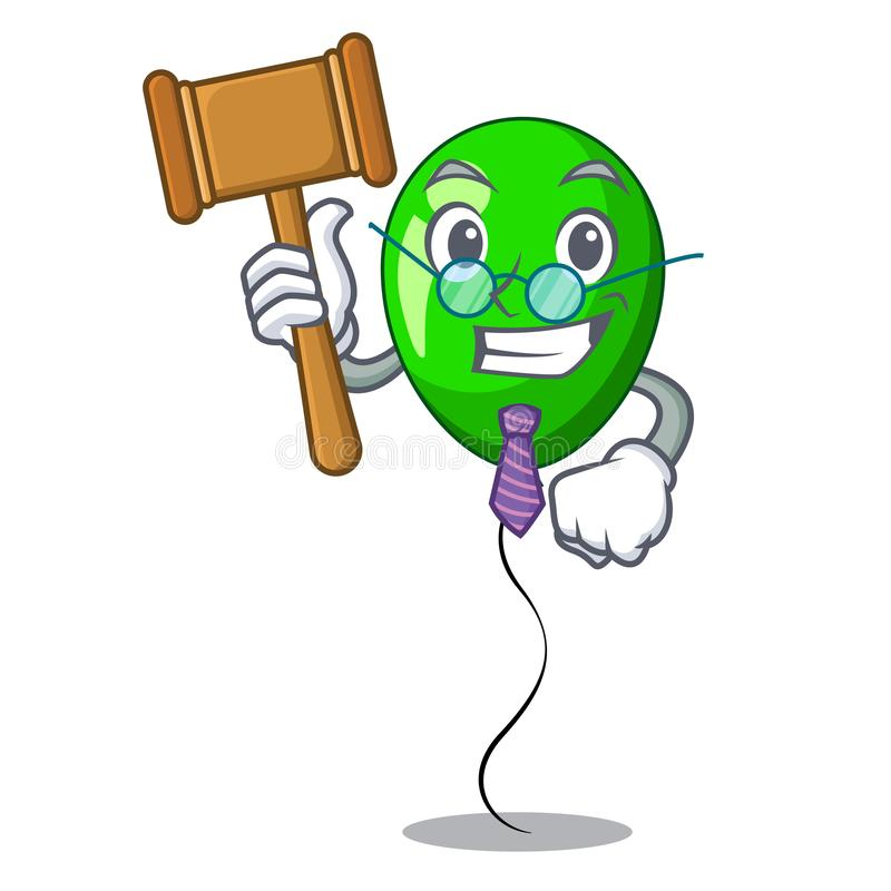 Judge green balloon on character plastic stick vector illustration