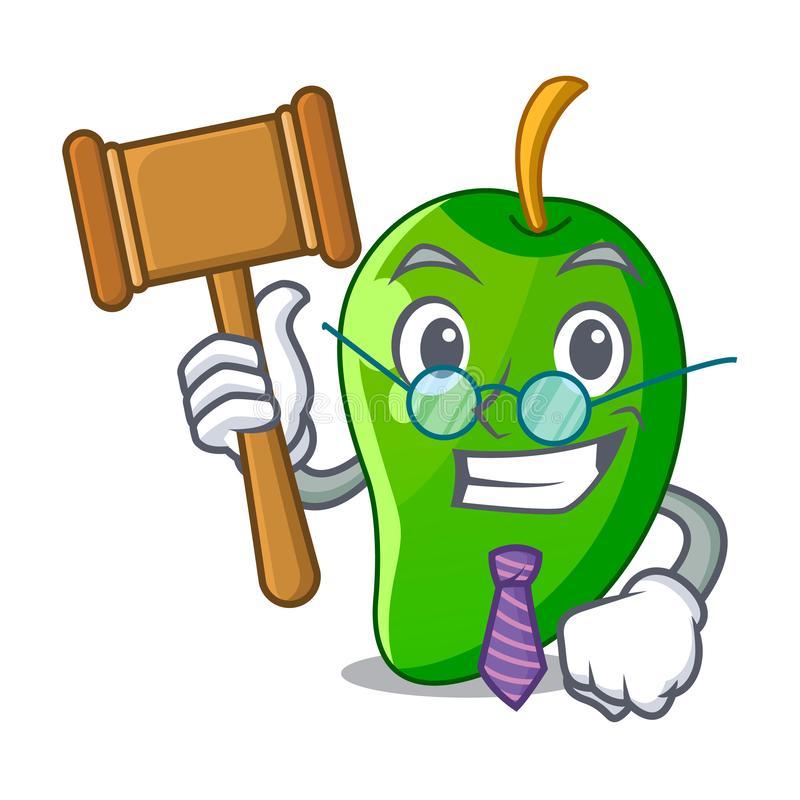 Judge green mango isolated with the mascot vector illustration