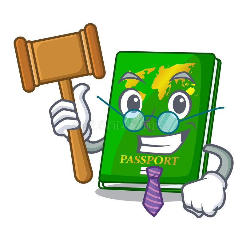 Judge green passport on the mascot table. Vector illustration vector illustration