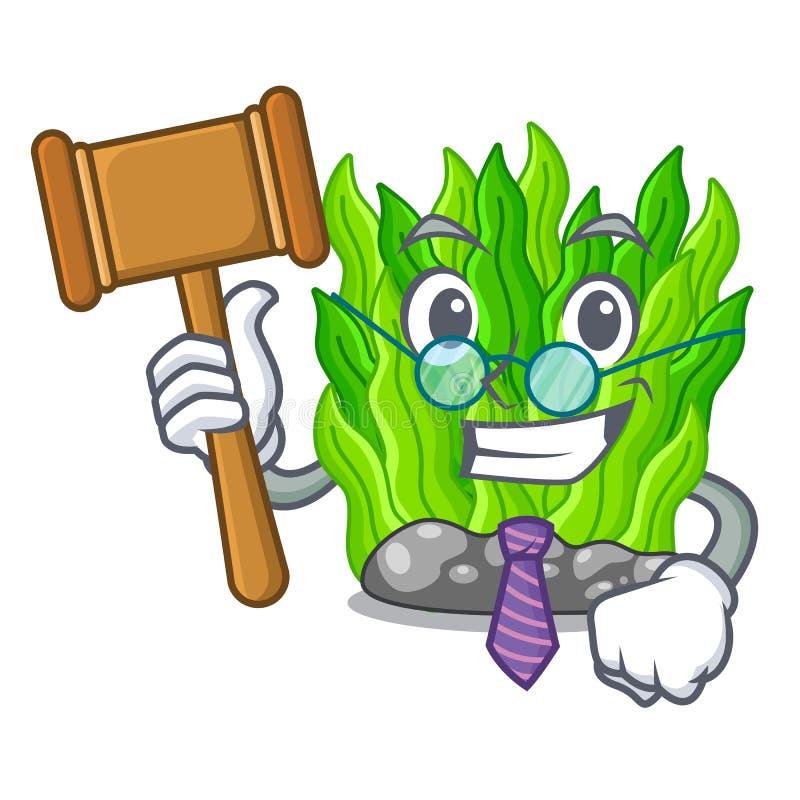 Judge green seaweed in a cartoon aquarium stock illustration