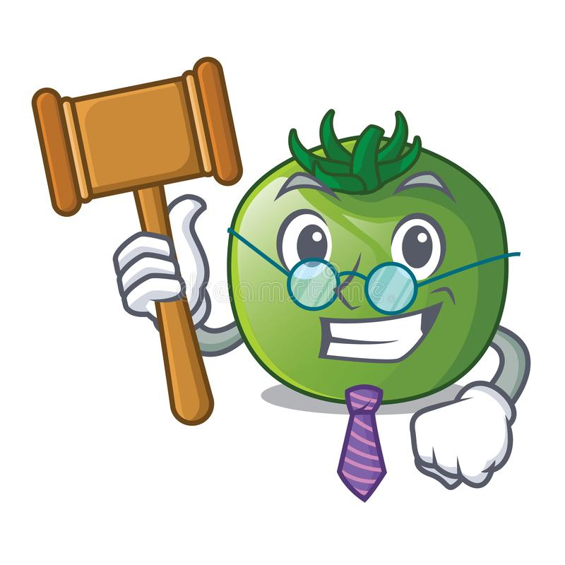 Judge green tomato in shape of mascot vector illustration