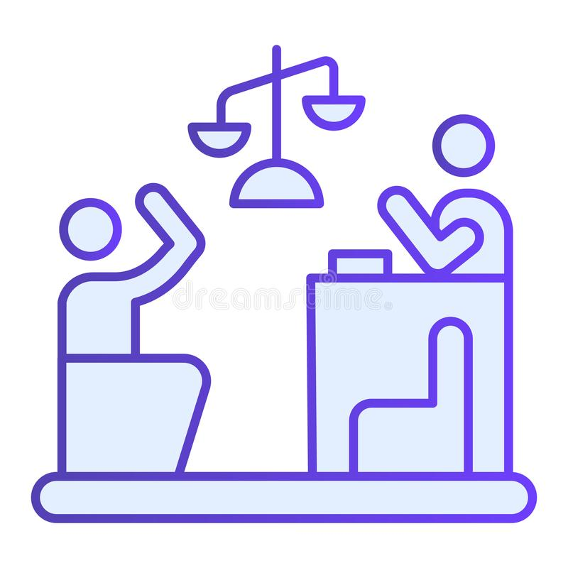 Judge and guilty flat icon. Court blue icons in trendy flat style. Trial gradient style design, designed for web and app. Eps 10 stock illustration