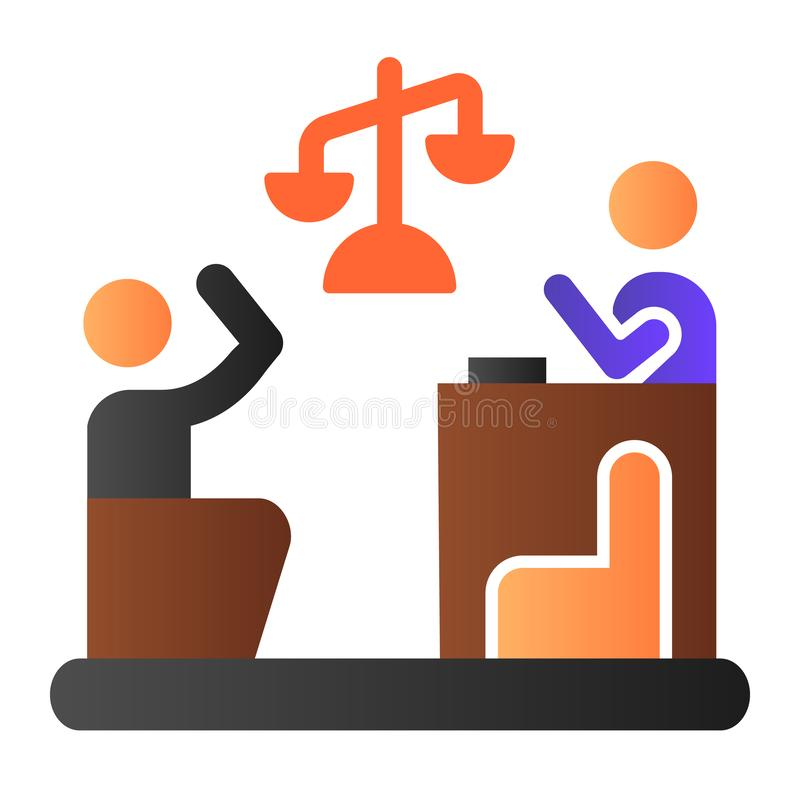 Judge and guilty flat icon. Court color icons in trendy flat style. Trial gradient style design, designed for web and. App. Eps 10 royalty free illustration