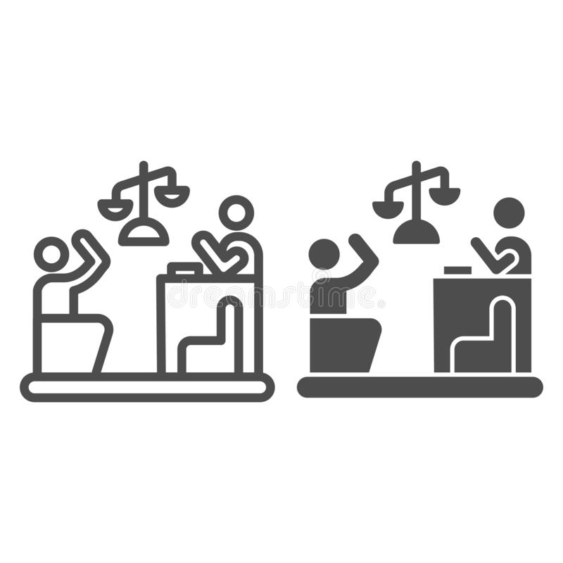 Judge and guilty line and glyph icon. Court vector illustration isolated on white. Trial outline style design, designed. For web and app. Eps 10 stock illustration