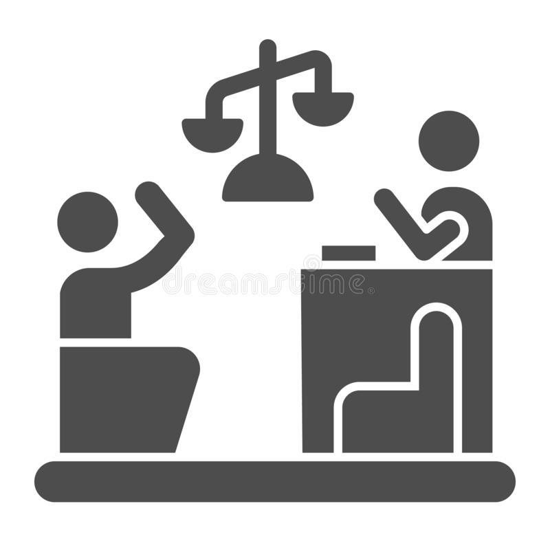 Judge and guilty solid icon. Court vector illustration isolated on white. Trial glyph style design, designed for web and. App. Eps 10 royalty free illustration