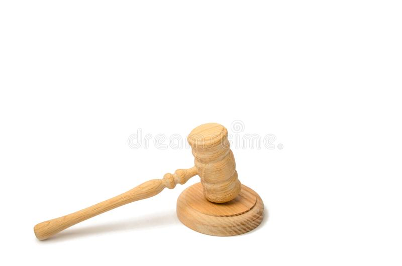 A judge hammer on a white background. Court and judgment. Justice and legality. Legislators, public administration. Auction for th stock photos