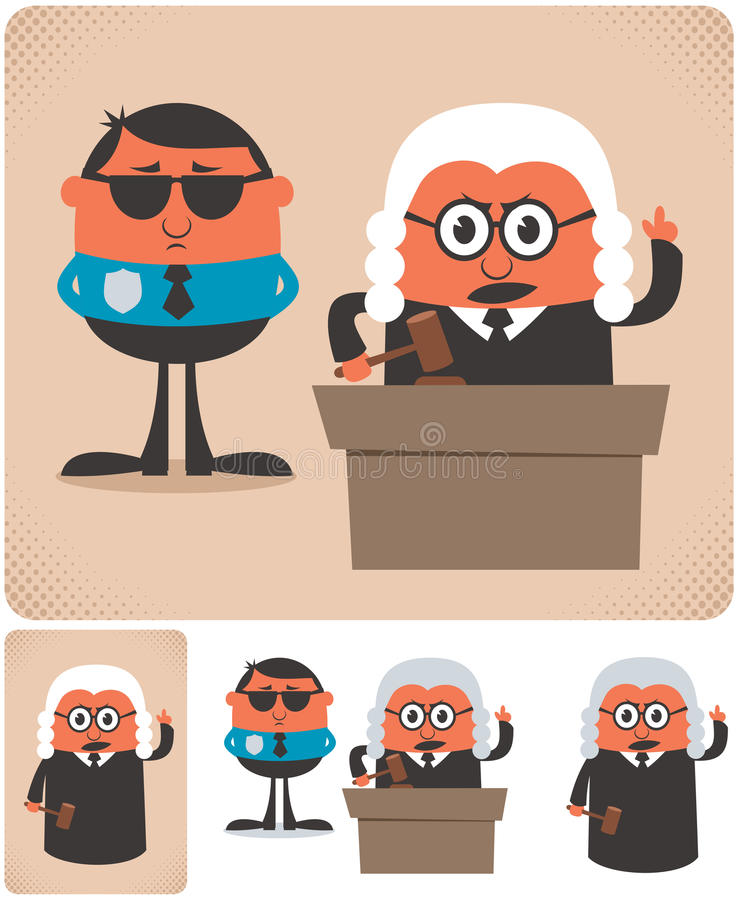 Judge. Illustration of cartoon judge in 4 different versions. No transparency and gradients used royalty free illustration