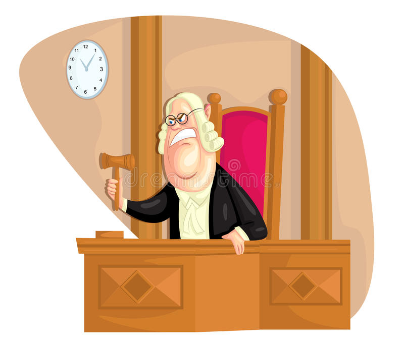 Judge. Illustration of judge with gavel in vector royalty free illustration