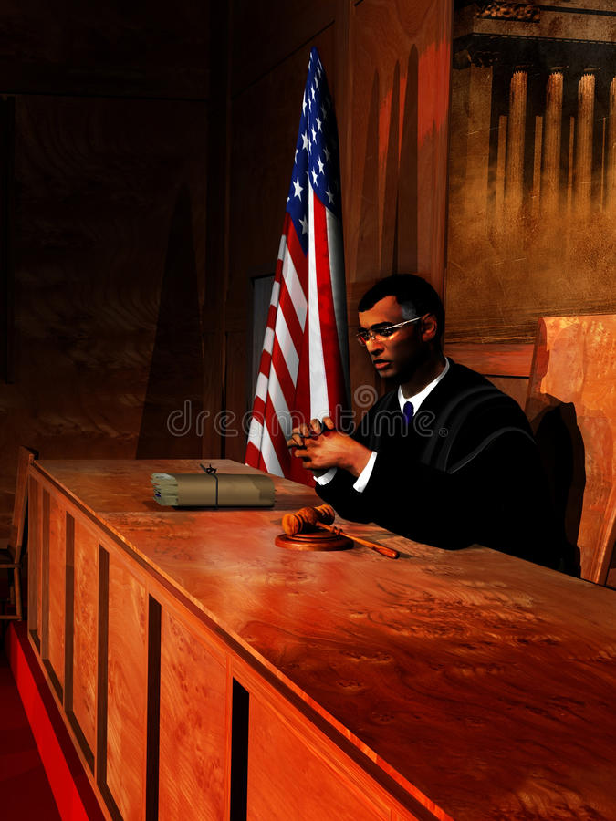 The judge. Interior of a court room. The judge is sat close to the american flag, thinking on a case on which files are near him royalty free illustration