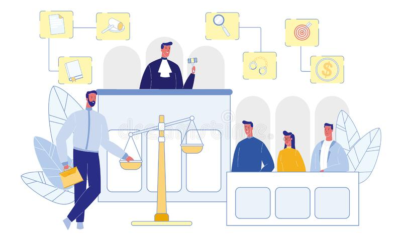 Judge and Jury in Courtroom Money Gavel Handcuffs. Judge and Jury in Courtroom. Witnesses and Attorney. Happy People. Money, Gavel and Handcuffs. Evidence on stock illustration