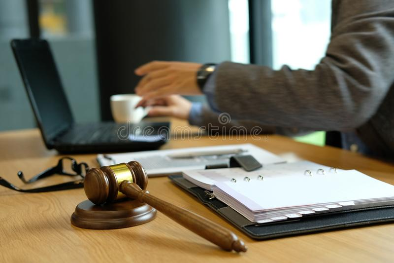 Judge lawyer attorney justice work at court. legal law gavel at. Judge lawyer attorney justice working at court. legal law gavel at courtroom royalty free stock photo