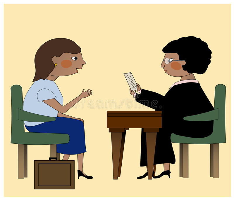 The Judge and the Lawyer. A judge and a lawyer discussing legal issues royalty free illustration