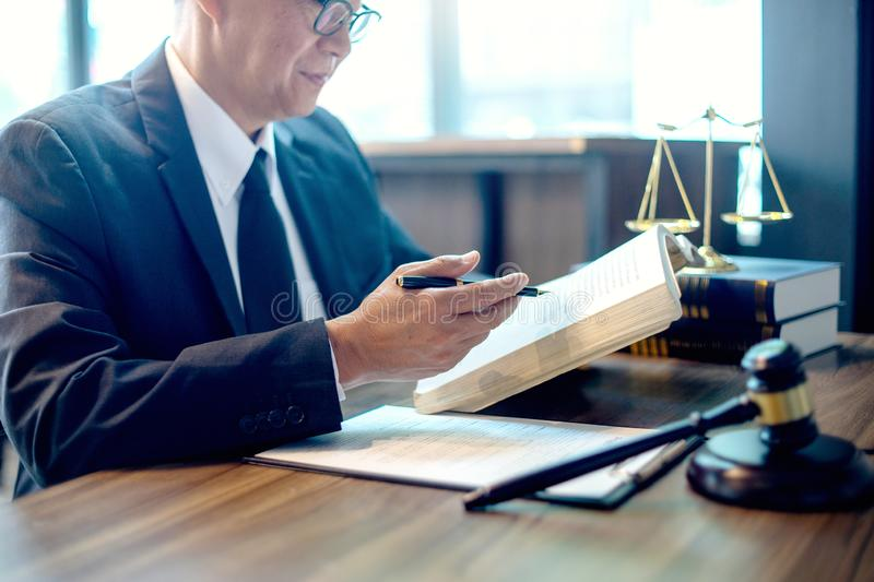 Judge lawyer gavel work in office with balance stock images