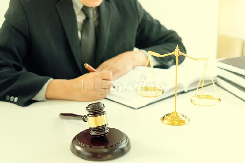 Judge lawyer gavel work in office with balance royalty free stock image