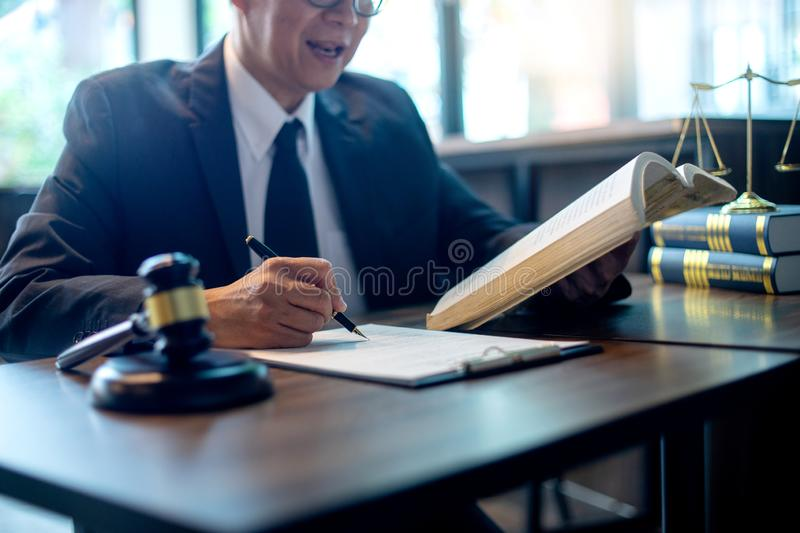 Judge lawyer gavel work in office with balance stock image