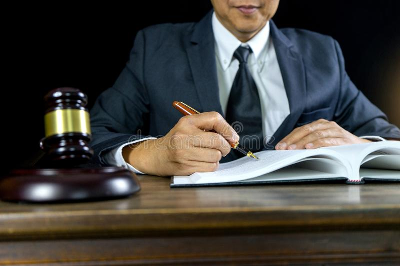 Judge lawyer gavel work in office stock photo