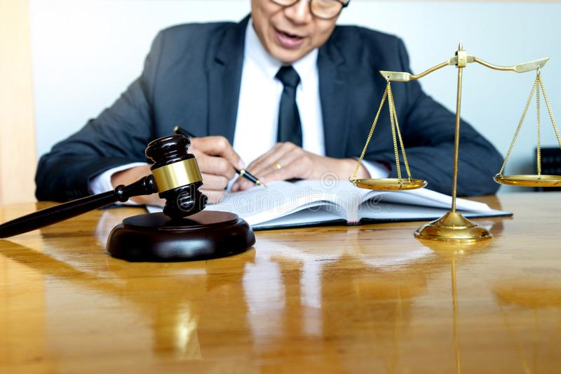 Judge lawyer gavel work in office royalty free stock photos