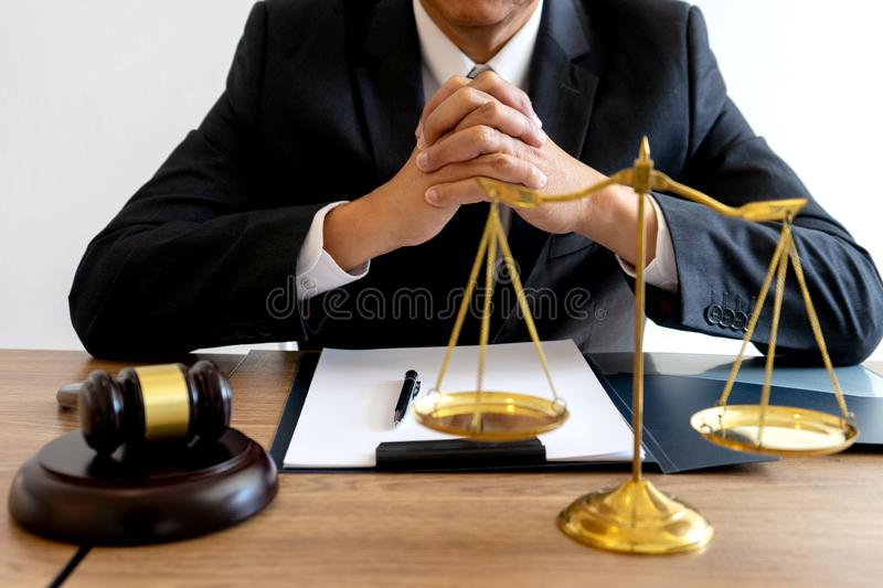 Judge lawyer gavel work in office with balance stock photography