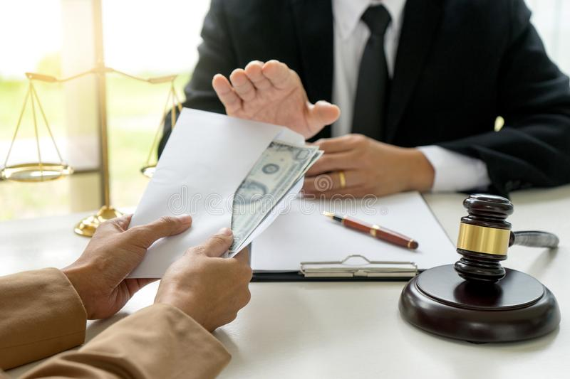 Judge lawyer say no to bribe money i. N law firm concept corruption stock photos