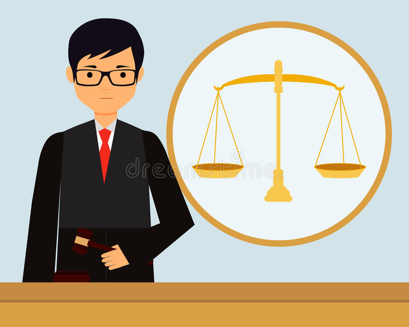 Judge. Man judge in the workplace holding gavel. Vector illustration stock illustration