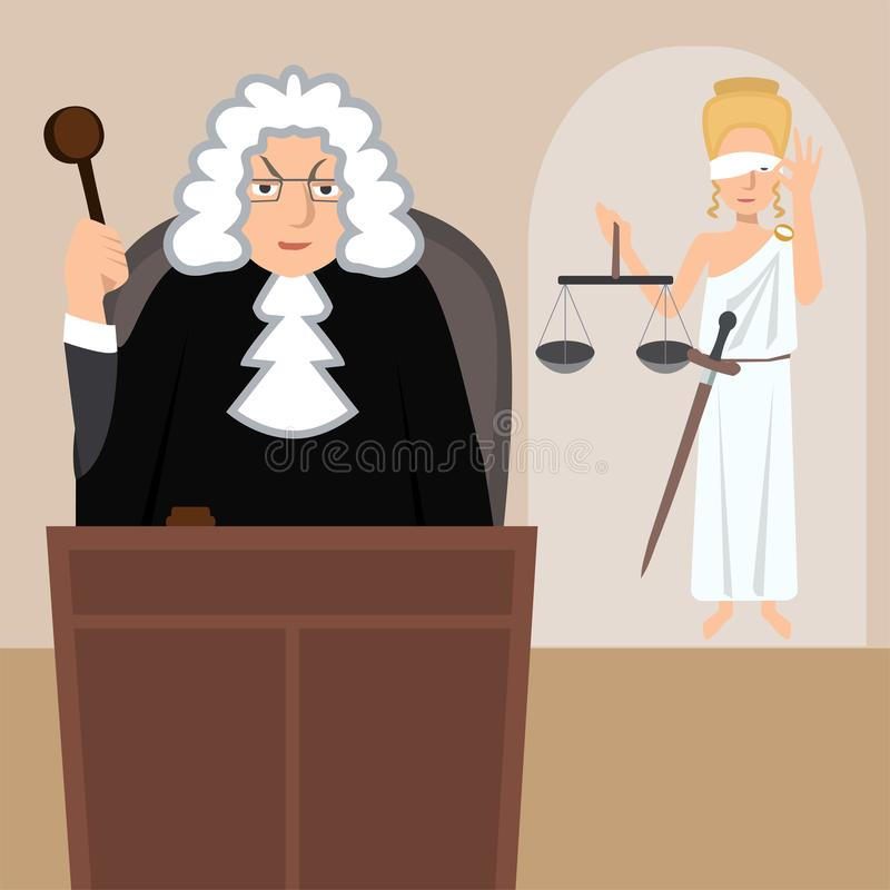 Judge in mantle with lady justice at background vector cartoon royalty free illustration