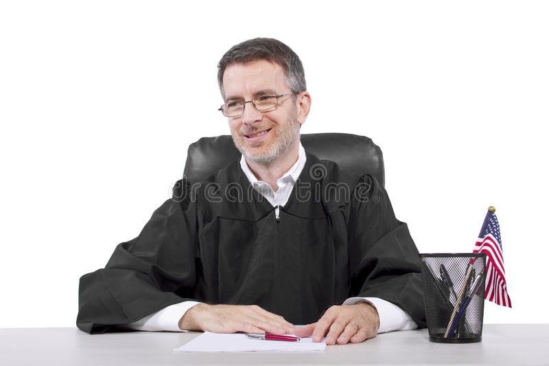 Judge. Middle aged caucasian american judge in a robe sitting stock photos