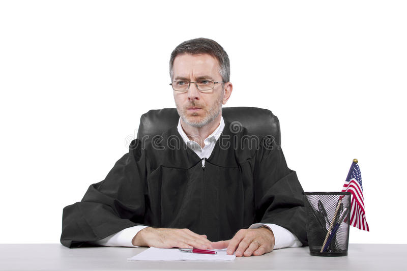 Judge. Middle aged caucasian american judge in a robe sitting stock images