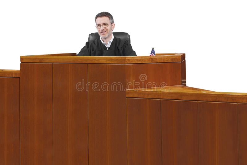 Judge. Middle aged caucasian american judge in a robe sitting stock photo